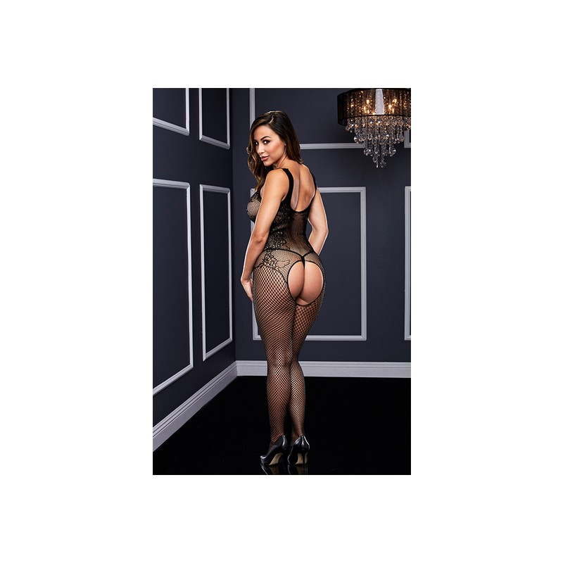 CROTCHLESS BODY MALLA FLORAL - NEGRO de la marca BACI LINGERIE