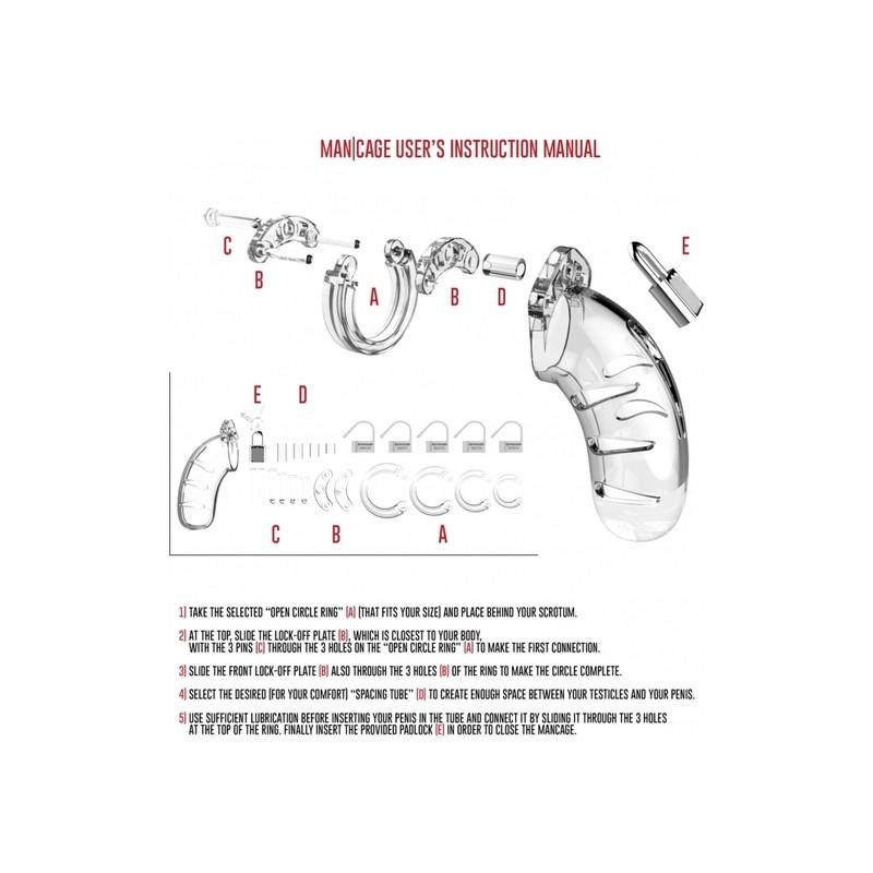 MODEL 01 - CHASTITY - 9CM TRANSPARENTE de la marca SHOTS